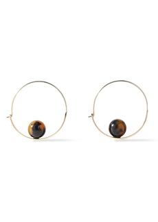 Ben-amun Woman Gold-tone Stone Hoop Earrings Light Brown