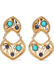Ben-amun Woman 24-karat Gold-plated Turquoise And Stone Clip Earrings Turquoise
