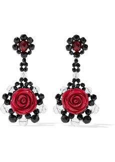 Ben-amun Woman Bead Resin And Silver-tone Earrings Red