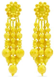 Ben-amun Woman Beaded Silver-tone Earrings Bright Yellow