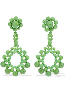 Ben-amun Woman Beaded Silver-tone Earrings Green