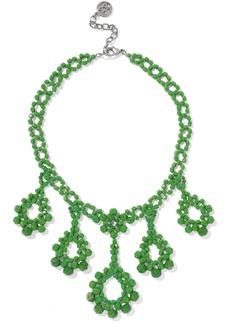 Ben-amun Woman Beaded Silver-tone Necklace Green