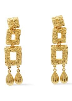 Ben-amun Woman Hammered 24-karat Gold-plated Earrings Gold