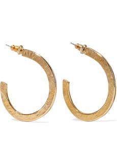 Ben-amun Woman Hammered 24-karat Gold-plated Hoop Earrings Gold