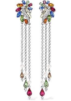 Ben-amun Woman Silver-tone Swarovski Crystal And Faux Pearl Clip Earrings Silver