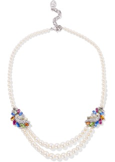 Ben-amun Woman Silver-tone Swarovski Crystal And Faux Pearl Necklace Off-white
