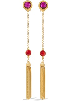Ben-amun Woman Tasseled 24-karat Gold-plated Crystal And Stone Clip Earrings Gold