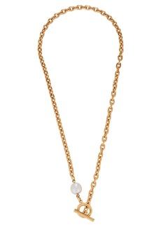 Ben-Amun Pearl Lariat Chain-Link Necklace