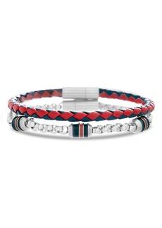 Ben Sherman Leather & Chain Bracelet Set