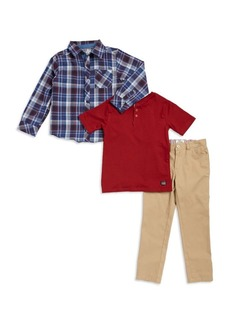 Ben Sherman Little Boy's Three-Piece Button-Down Shirt, Cotton Henley and Pants Set