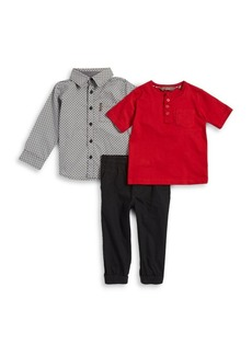 Ben Sherman Little Boy's Three-Piece Cotton Button-Down Shirt, Henley and Jogger Pants Set