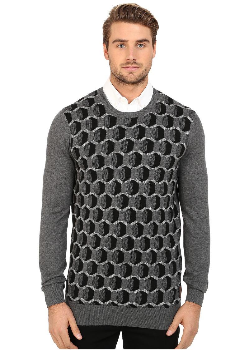 Ben Sherman Long Sleeve Optical Geo Crew Neck Sweater ME11748