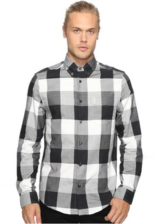 Ben Sherman Long Sleeve Textured Oversized Gingham Woven Shirt