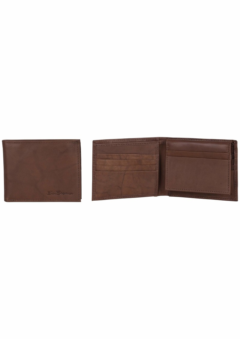 Ben Sherman Manchester Full Grain Marble Crunch Leather Passcase Wallet With Flip Up ID Window (RFID) Brown