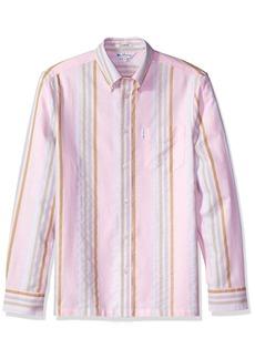 Ben Sherman Men's 60s Candy Stripe Archive Shirt Pink