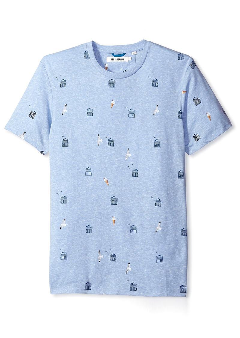 Ben Sherman Men's All Over Beach Hut Print T-Shirt  XXL