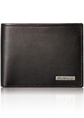 Ben Sherman Men's Brick Lane Sheepskin Leather Traveler Passcase Wallet with Logo Plate black