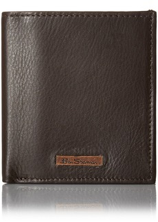 Ben Sherman Men's Hackney Full Grain Cowhide Leather Slim Square Passcase Wallet with Logo Plate and Rfid Protection