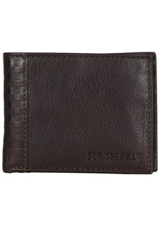 Ben Sherman Men's Leather Bi-fold Five Pocket Wallet with Id Window (RFID)