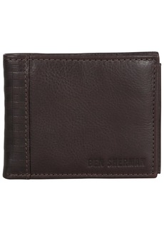 Ben Sherman Men's Leather Bi-fold Passcase Nine Pocket Wallet with Id Window (RFID)