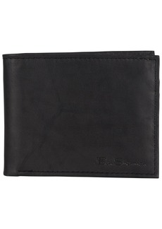 Ben Sherman Men's Leather Five Pocket Bifold Wallet with Id Window (RFID)
