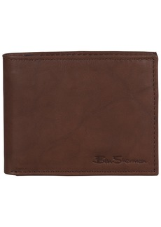 Ben Sherman Men's Leather Five Pocket Bifold Wallet with Id Window (RFID) Brown