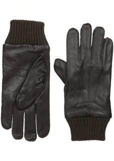 Ben Sherman Men's Leather Glove W Knit Trim  L