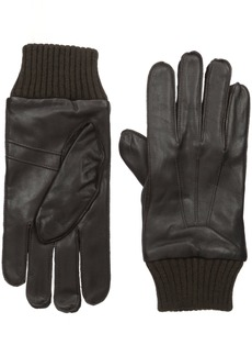 Ben Sherman Men's Leather Glove W Knit Trim  M