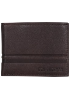 Ben Sherman Men's Leather Nine Pocket Passcase Wallet with Id Window (RFID)