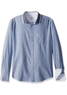 Ben Sherman Men's Long Sleeve Flatknit Collar Shirt