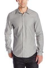 Ben Sherman Men's Long Sleeve Herringbone Spot Button Down Shirt  Large