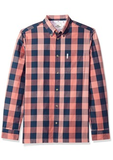 Ben Sherman Men's Long Sleeve Linen Slub Buffalo Shirt  S