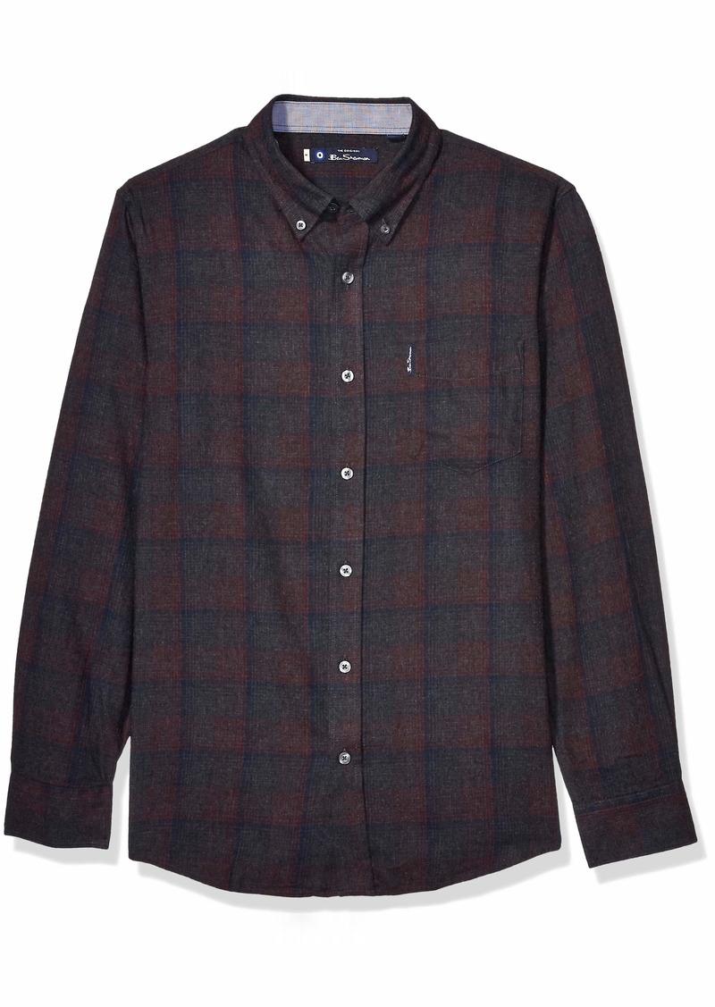 Ben Sherman Men's LS BRSHD TONL Plaid Shirt  L