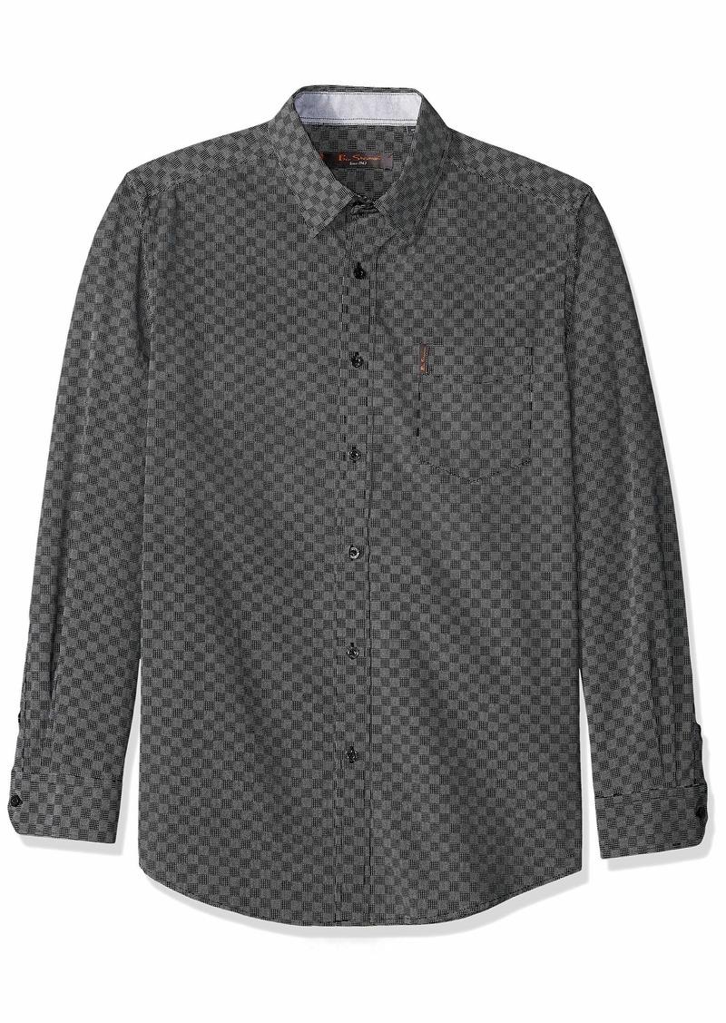 Ben Sherman Men's LS CHECKERBRD PRNT Shirt  L