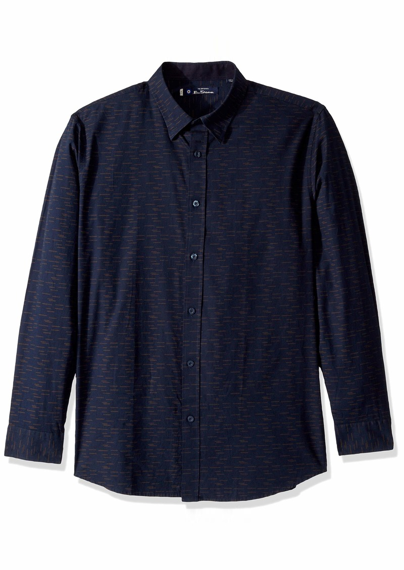 Ben Sherman Men's LS Dashed DOT Print Shirt  S
