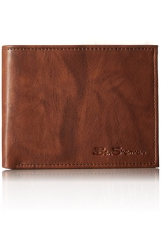 Ben Sherman Manchester Full Grain Cowhide Marble Crunch Leather Passcase Wallet With Flip Up ID Window With RFID