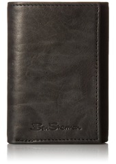 Ben Sherman Manchester Marble Crunch Leather Trifold Wallet With ID Window (RFID)