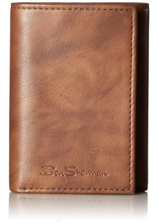Ben Sherman Manchester Marble Crunch Leather Trifold Wallet With ID Window (RFID) Brown