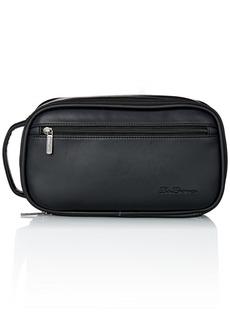 Ben Sherman Men's Mayfair Grainy Pvc Bucket Style Single Compartment Zip Around Travel Kit Black
