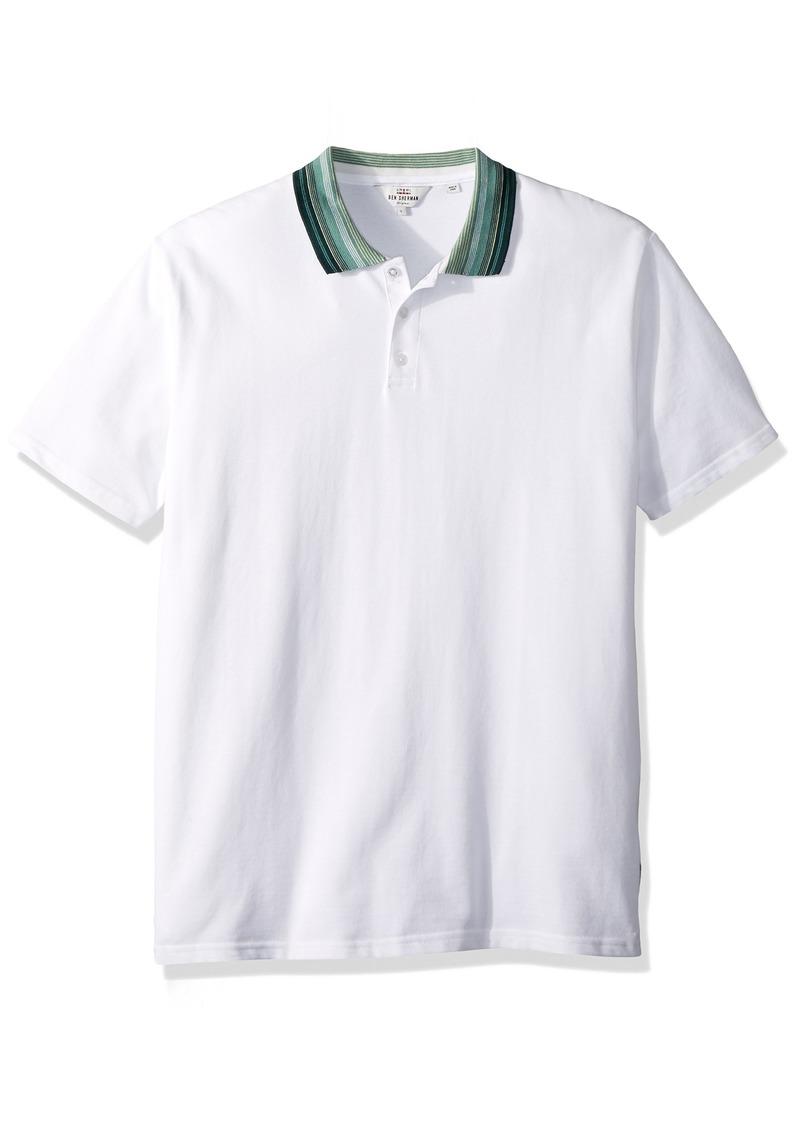 Ben Sherman Men's Short Sleeve Birdseye Jaquard Collar Polo