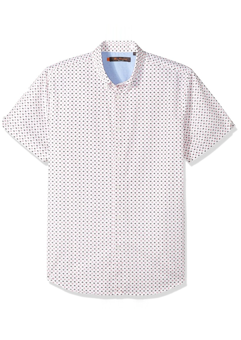 Ben Sherman Men's Short Sleeve GEO Floral Print Shirt  S