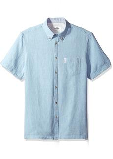Ben Sherman Men's Short Sleeve Modern Plain/Linen Summer