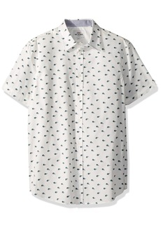 Ben Sherman Men's Short Sleeve Peacock Feather Print Shirt  XLarge