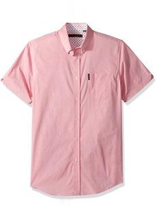 Ben Sherman Men's Short Sleeve Stretch DOT Dobby Shirt