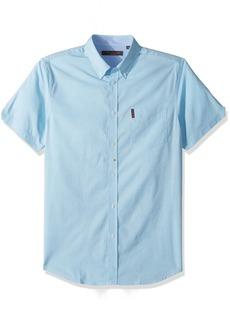 Ben Sherman Men's Short Sleeve Stretch Dot Dobby Shirt  L