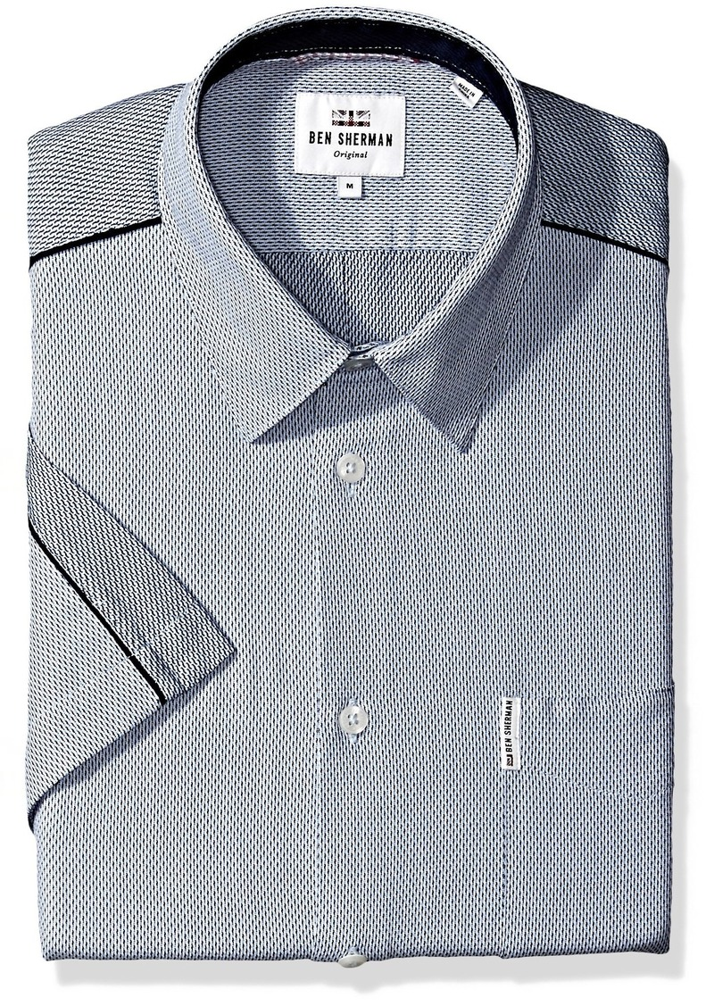 Ben Sherman Mens Woven Dobby Collar Polo