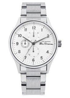 Ben Sherman Men's Silver-Tone Stainless Steel Multifunction Watch, 41mm