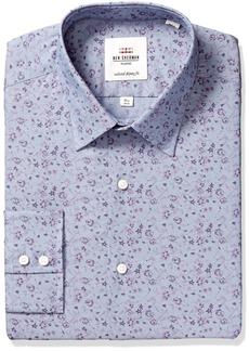 Ben Sherman Men's Skinny Fit Chambray Print Dress Shirt