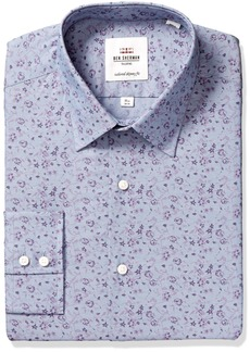 Ben Sherman Men's Skinny Fit Chambray Print Dress Shirt