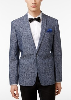 Ben Sherman Men's Slim-Fit Blue and Gray Paisley Cotton Dinner Jacket
